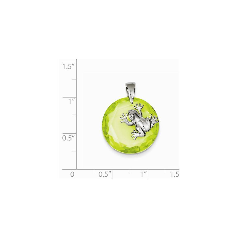 925 Sterling Silber poliert grün CZ Zirkonia simuliert Diamant Frosch Anhänger Halskette Schmuck Geschenke für Frauen