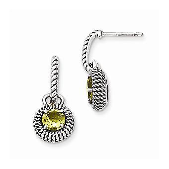 925 Sterling Silver With 14k Lemon Quartz Post Long Drop Dangle Earrings Jewelry Gifts for Women