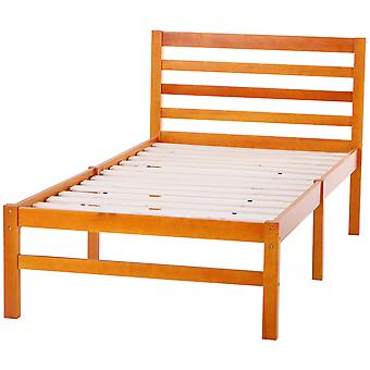 HOMCOM Solid Pine Wood Single Bed Frame Bedroom Furniture Sturdy Large Underbed Clearance 250kg Max