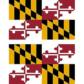 2 X Sticker Sticker Car Pc Vinyl Macbook Flag USA American Maryland