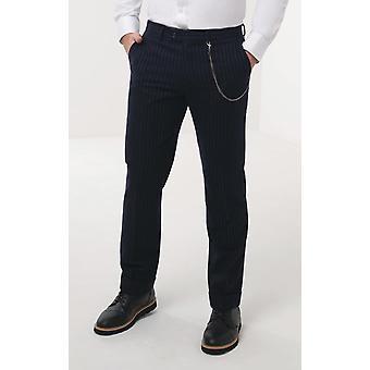 Loch Hart Mens Navy Chalk Stripe Trousers