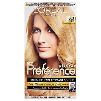 L'Oreal Preference Hair Colour 3-PACK Chicago 8.31 Natural Golden Blonde