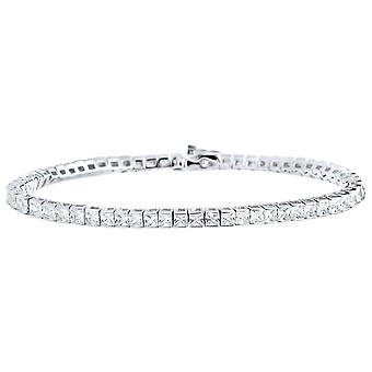Iced out 925 sterling silver bracelet - TENNIS baguette 4mm