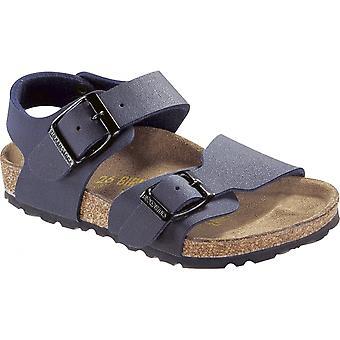 Birkenstock Kids New York Navy 087773, nubuck Birko-Flor sandaal met twee verstelbare gesp riemen