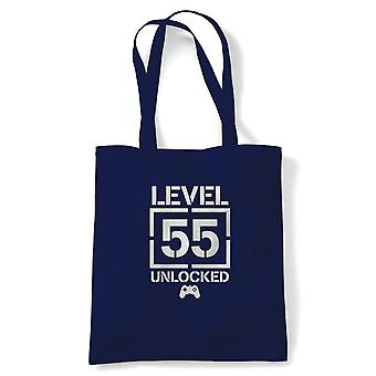 Level 55 Unlocked Video Game Birthday Tote | Age Related Year Birthday Novelty Gift Present | Reusable Shopping Cotton Canvas Long Handled Natural Shopper Eco-Friendly Fashion