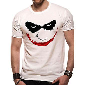 Mężczyźni's Batman Dark Knight Joker Smile Biały T-Shirt