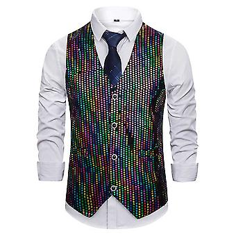 Allthemen Men 's Casual Gorgeous V-neck Single-breasted Multicolor Sequined Suit Vest Allthemen Men 's Casual Gorgeous V-neck Single-breasted Multicolor Sequined Suit Vest