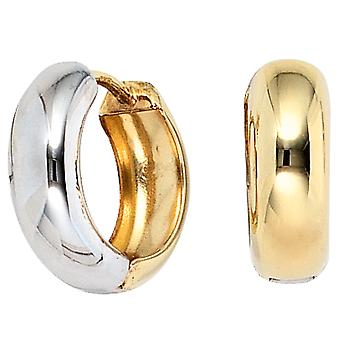 Two-tone hoop earrings part rhodium plated approximately 333 gold yellow gold earrings gold Klappcreolen