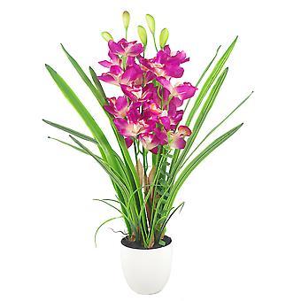 75cm große rosa künstliche Cymbidium Orchidee in weißen Pflanzer