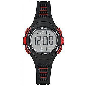 Tekday Junior 654662 Watch - Silicone Black Box Bracelet Silicone Red