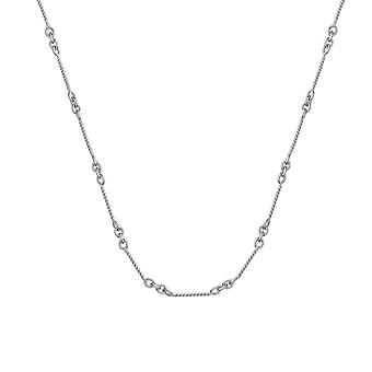 14k White Gold .8mm Twisted Bar Cable Chain Necklace Lobster Claw Closure Jewelry Gifts for Women - Length: 16 to 20