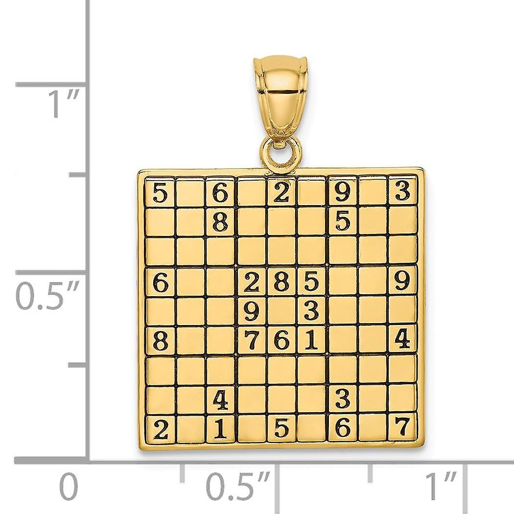 20mm 14k Gold Sudoku Game Board High Polish and Number S Charm Pendant Necklace Jewelry Gifts for Women