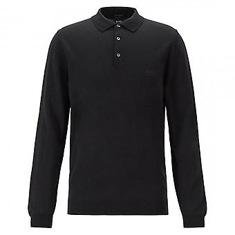 Hugo Boss Bono-L Fine Knit Polo Wool Jumper Black 001 50419385