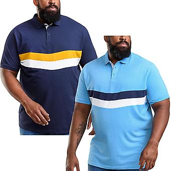 Duke D555 Mens Hopkins Big Tall King Size Colourblock Cotton Polo Shirt Tee Top