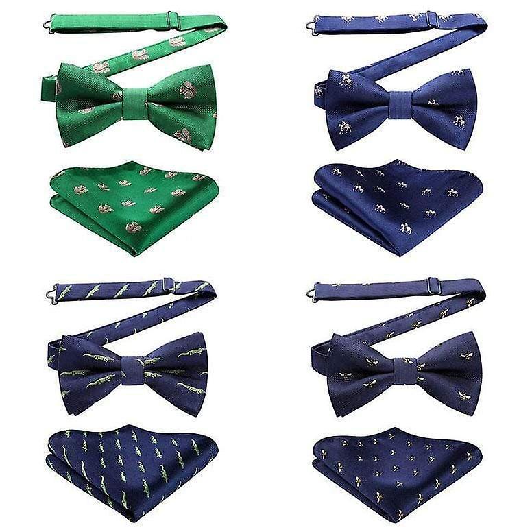 Navy blue & green dinosaur bow tie & pocket square