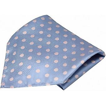 David Van Hagen Polka Dot Silk Pocket Square - Sky Blue/ Pink