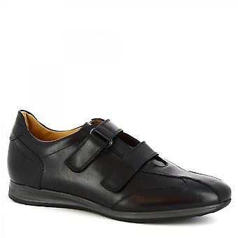 Leonardo Shoes Men's handmade casual shoes in black calf leather strap closure