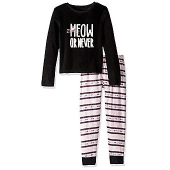 Candie's Girls' Big Cozy PJ Set, Meow Orange Never Black/Pink, L