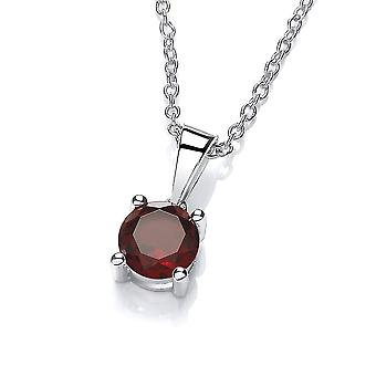 David Deyong Sterling Silver Garnet Necklace January Birthstone