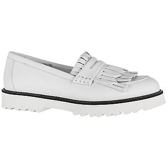 Hogan Women's fashion fringe slip-on round toe loafers shoes in white leather