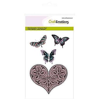 CraftEmotions Clear Stamps A6 - heart and butterflies Happiness