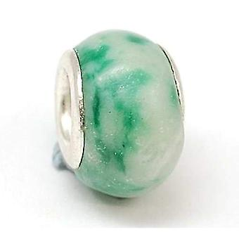 TOC BEADZ Mint Marble Effect 8mm Glass Slide-on Bead