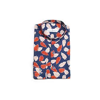 Jenson Samuel Navy Leaf Pattered Collarless Regular Fit Shirt