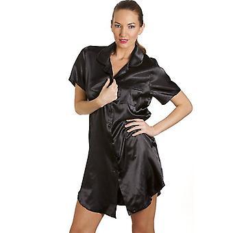 Camille Black Womens Luxurious Satin Nightshirt Nightdress