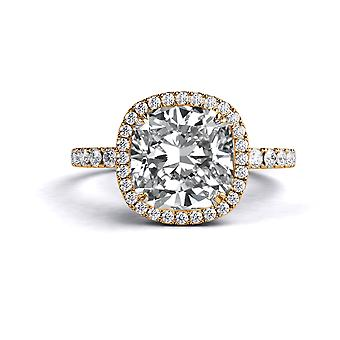 1,7 carat E VS2 Diamond Engagement Ring 14K Or Rose Halo Micro Pave cathédrale