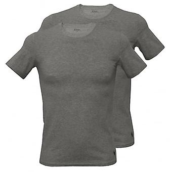 Polo Ralph Lauren 2-Pack Stretch Cotton Crew-Neck T-Shirts, Heather Grey With Navy
