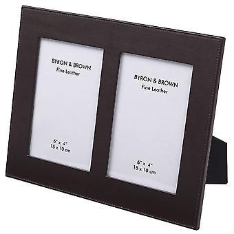 Byron and Brown Double Nappa Leather Photo Frame 6 x 4 - Brown