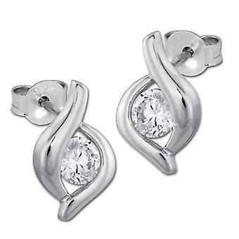 925 Sterling Woman-Silver SilberDream Earrings with White Zircons VSDO241W