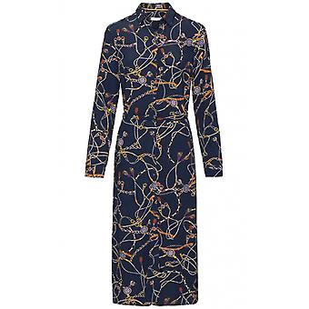 Bianca Navy Chain Print Shirt Dress