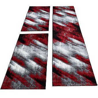Shortflor Rug Bed Border Runner Set Abstract Shadow Black Red Melted