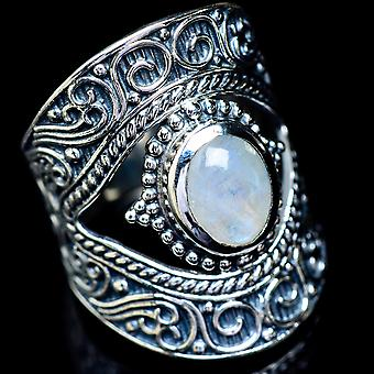 Large Rainbow Moonstone Ring Size 7.75 (925 Sterling Silver)  - Handmade Boho Vintage Jewelry RING5921