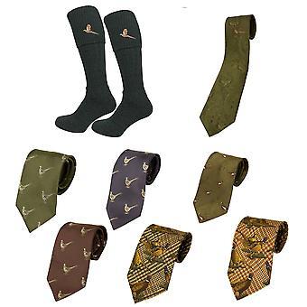 Bisley Olive Socks Tie set Embroidered pheasant Breeks traditional shooting sock