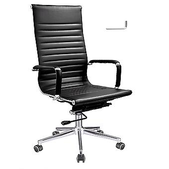 Yescom Executive High Back Ribbed PU Leather Swivel Office Computer Desk Chair Black XL