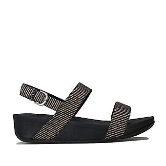 Women's Fit Flop Lottie Glitter Stripe Back Strap Sandals in Black