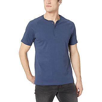 Goodthreads Men's Short-Sleeve Sueded Jersey Henley, Marina, X-Large