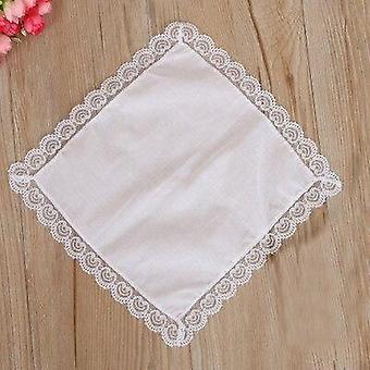Diy hvit lommetørkle håndklær blonder kanten med mange bruksområder
