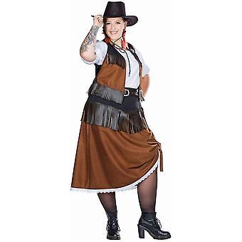 Cowgirl Full Cut Naisten puku Länsi-Tyttö 4-kpl. Karnevaali mekko Prairie Lady