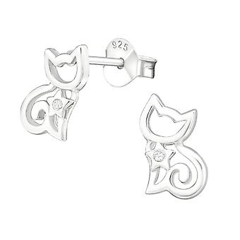 Sterling Silver Cat Stud Earrings with Cubic Zirconia