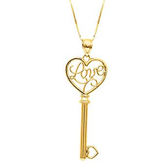 14k Yellow Gold Shiny Box Chain Spring Ring Clasp Key Pendant Love Heart Necklace - 18 Inch