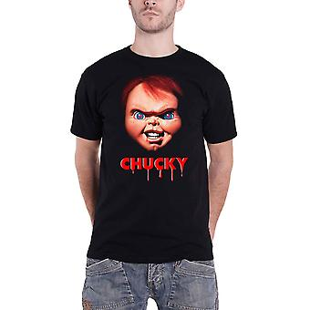 Chucky T Shirt Face Horror Movie Logo nye officielle Herre Black
