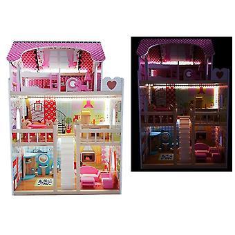 Holz Puppenhaus Melisa Pink mit LED-Beleuchtung