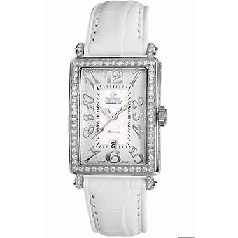 Gevril Kvinnor' s 6209NL Glamour Automatisk Diamond MOP Ratten Läder Datum Klocka