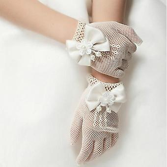 Girls Wedding Princess Gloves- Mesh Bowknot Party Children Birthday Ceremony Celebration Accessories Girl Performance Glove