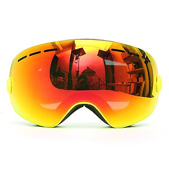 Snowboard Ski Goggle Anti-fog Double Lens UV Motorcycle Riding Yellow Frame