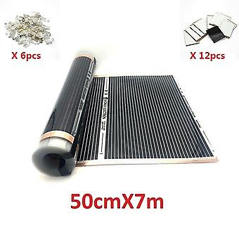 Ac220v Infrared Underfloor Heating Film Warm Mat With Clamps Insulation Pastes