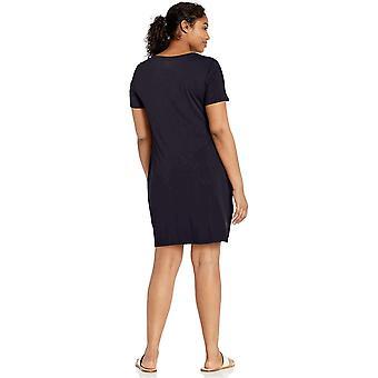 Merke - Daglig Ritual Kvinner's Jersey Kortermet Scoop Neck T-skjorte Kjole, Marine, Liten